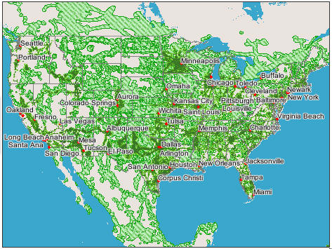 USA GSM Network Coverage Maps For AT&T And T-MOBILE